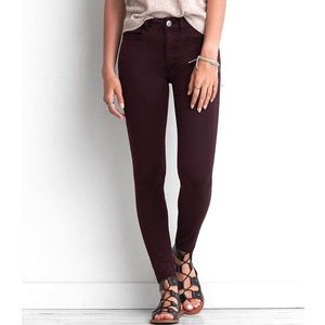 American Eagle Maroon Purple Hi Rise Jegging Crop